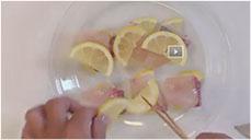 bày cá cam với chanh